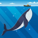whale underneath man in boat